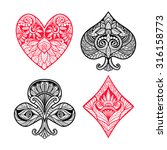 Playing Card Suits Hand Drawn...