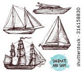 Hand Drawn Retro Sail Ships An...