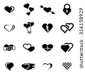 vector black heart icon set | Shutterstock .eps vector #316158929