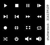 vector white media player icon... | Shutterstock .eps vector #316159109