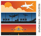 set of flying airplanes banners ... | Shutterstock .eps vector #316163036