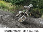 Rider Driving In The Motocross...