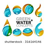 set of abstract eco water icons ... | Shutterstock .eps vector #316164146