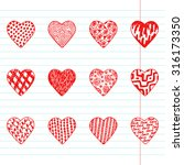 hearts set. red hearts icons.... | Shutterstock .eps vector #316173350