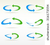set of plain round arrow icons. ... | Shutterstock .eps vector #316173554