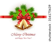 golden christmas bells with red ... | Shutterstock .eps vector #316175639