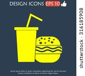 burger and paper cup with a... | Shutterstock .eps vector #316185908