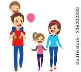 cute happy four member family... | Shutterstock .eps vector #316202330