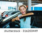young happy woman standing near ... | Shutterstock . vector #316203449
