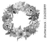 floral monochrome colored... | Shutterstock . vector #316203899