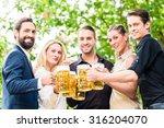 friends or colleagues on beer... | Shutterstock . vector #316204070