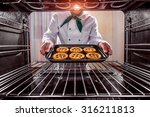 chef prepares pastries in the... | Shutterstock . vector #316211813