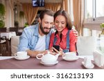 cheerful young man and woman... | Shutterstock . vector #316213193
