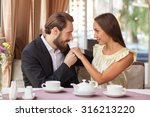 attractive man and woman are... | Shutterstock . vector #316213220