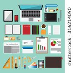 set of office equipment in flat ... | Shutterstock .eps vector #316214090