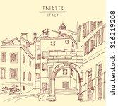 arch of riccardo in trieste ... | Shutterstock .eps vector #316219208