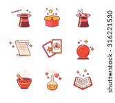magic and magician tools. thin...   Shutterstock .eps vector #316221530