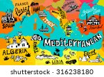 Illustrated Map Of Mediterranean