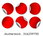 set of red round promotional... | Shutterstock .eps vector #316259750