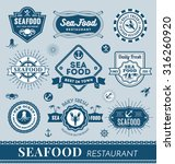 set of seafood restaurant logo... | Shutterstock .eps vector #316260920