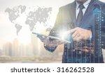 double exposure of businessman...   Shutterstock . vector #316262528