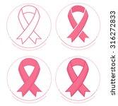 vector set of pink ribbons... | Shutterstock .eps vector #316272833