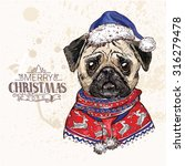 hand drawn vector of pug dog... | Shutterstock .eps vector #316279478