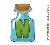 n in magical bottle. letter in...   Shutterstock .eps vector #316285778