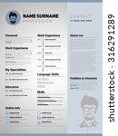 resume template  minimalist cv  ... | Shutterstock .eps vector #316291289