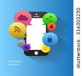 mobile phone media icons vector ... | Shutterstock .eps vector #316303250