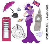 lady and elements of london... | Shutterstock . vector #316310006