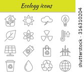 outline icons set. ecology.