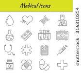 outline icons set. medical...