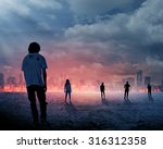 group of zombie over burn city... | Shutterstock . vector #316312358