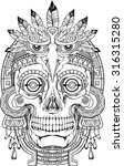 black and white indian skull... | Shutterstock .eps vector #316315280