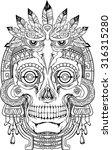 black and white indian skull...   Shutterstock .eps vector #316315280