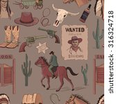 wild west colored hand drawn...   Shutterstock . vector #316324718