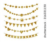 set of garlands made of gold...   Shutterstock .eps vector #316331150