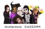 kids with face paint and... | Shutterstock . vector #316332494
