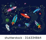 space and spaceships | Shutterstock .eps vector #316334864