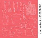 big set of kitchen utensils.... | Shutterstock .eps vector #316338500