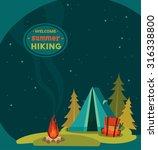 summer hiking   vector... | Shutterstock .eps vector #316338800