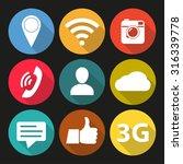 social network icon set. media... | Shutterstock .eps vector #316339778