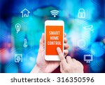 hand holding smart phone with... | Shutterstock . vector #316350596