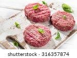 Raw Ground Beef Burger Steak...