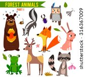 vector set of cute woodland and ... | Shutterstock .eps vector #316367009