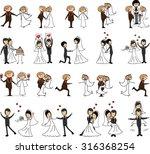 set of wedding pictures  bride... | Shutterstock .eps vector #316368254