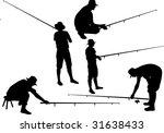 silhouette of fisherman... | Shutterstock . vector #31638433
