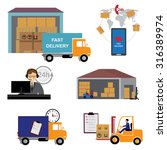 shipping and delivery icons set. | Shutterstock .eps vector #316389974