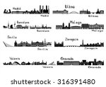 silhouette signts of 8 cities... | Shutterstock .eps vector #316391480